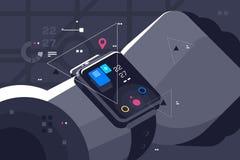Modern smart watch on male hand vector illustration