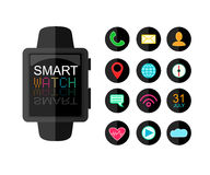 Modern Smart Watch. Set Of App Icons for Interface. Flat Style.  Royalty Free Stock Photo