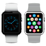 Modern smart watches with applications icons on screen. On white background Stock Images