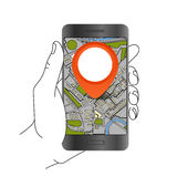 Modern smartphone with abstract city map Royalty Free Stock Photo