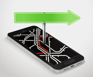 Modern smartphone with abstract metro map Royalty Free Stock Photos