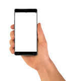 Modern Smartphone bezel less in hand black Royalty Free Stock Image