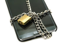 Modern smartphone with combination lock padlock. Concept of mobile phone security Stock Image
