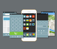 Modern smartphone with different application screens. Design elements Royalty Free Stock Image