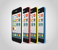 Modern smartphone different colors Royalty Free Stock Image