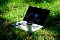 Modern smartphone för bärbar dator med hörlurar och kaffekoppen på grönt gräs Kaffeavbrott utomhus oklarheter ?ver vita parksomma royaltyfri fotografi