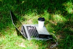 Modern smartphone för bärbar dator med hörlurar och kaffekoppen på grönt gräs oklarheter ?ver vita parksommartrees Arbeta och kop arkivfoton