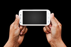 Modern smartphone in hand. Royalty Free Stock Photo