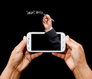 Modern smartphone in hand. Royalty Free Stock Photos