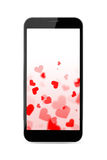 Modern smartphone with hearts Royalty Free Stock Photo