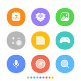 Modern smartphone icons set. Different color icons Royalty Free Stock Photos