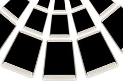 Modern smartphone med den tomma skärmen på isolerad vit bakgrund rad av det mobila advertizingbegreppet Royaltyfria Bilder