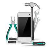 Modern smartphone with tools isolated on white background. Symbol of repair, upgrade and improvement Royalty Free Stock Image