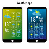 Modern smartphone with weather app on the screen. Flat design template for mobile apps, Vector illustration Stock Images