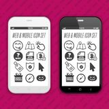 Modern Smartphones with app icons on the touch screen Display. Modern Smartphones with app icons on the touch screen Display royalty free illustration