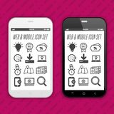Modern Smartphones with app icons on the touch screen Display. Eps10 Vector royalty free illustration
