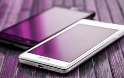 Modern smartphones closeup Stock Images