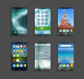 Modern smartphones with different application screens. Smartphone application design elements with blur backgrounds Royalty Free Stock Images