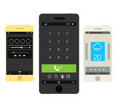 Modern smartphones with different ui Royalty Free Stock Images