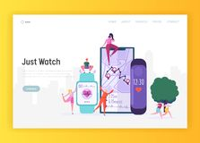 Modern Smartwatch for Sportsman Landing Page. Sport Watch Include Activity Fitness Tracker for Monitoring Lap Time, Heart Rate. And Route Tracking Website or royalty free illustration