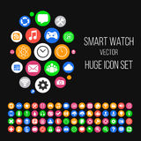 Modern Smartwatch Style Background with Huge Set of 64 Icons in Stock Photo