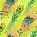 Modern snake flower seamless  watercolor artist wallpaper textur Stock Images