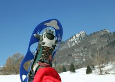 Modern snowshoe in the mountain. One modern snowshoe in the mountain Stock Photos