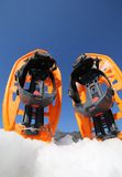 Modern snowshoes in the mountain Royalty Free Stock Photography
