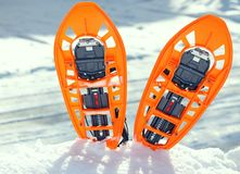 Modern snowshoes in the mountain Royalty Free Stock Images