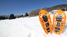 Modern snowshoes in the mountain Stock Photo