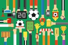 Modern soccer fan flat design set Stock Images