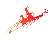 Modern Soccer Player In Action Logo - Save By The Goalkeeper Royalty Free Stock Image