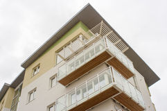 Modern social housing, UK. Low cost apartments in a new social housing development in south Wales. Low angle Royalty Free Stock Photo