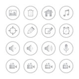 Modern social media buttons with soft shadow. Style Vector Illustration