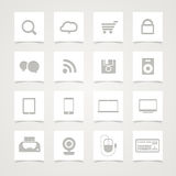 Modern Social media icons. On paper buttons Stock Photo