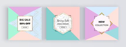 Modern social media promotion banner, geometric shapes, pastel colors triangles background. Square template for designs card, flye vector illustration
