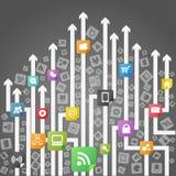 Modern social media scheme. Modern social media abstract scheme Stock Photos