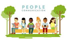 Modern society. People communication concept in flat style Royalty Free Stock Photos