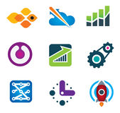 Modern society rapid progress growth in intelligent computer technology science icon set Royalty Free Stock Photo