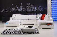 Modern sofa. Modern interior with white sofa Stock Photography