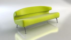 Modern sofa 3D rendering vector illustration