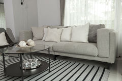 Modern sofa. Beige contemporary modern sofa with grey cushions Stock Photo