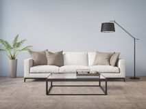 Modern sofa in a blue contemprary living room stock illustration