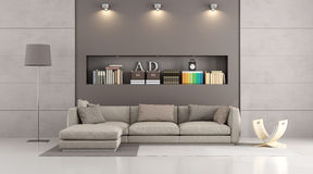 Modern sofa in a contemporary livingroom Stock Images