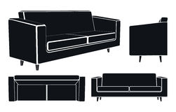 Modern Sofa Couch, Different Views, Vector Royalty Free Stock Photos