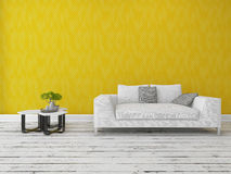 Modern sofa in front of a gold wall Royalty Free Stock Photo