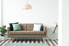 Modern sofa with green pillows under a pink lamp, bike and plant. Set in a living room interior stock image