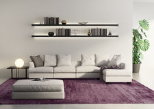 Modern  sofa in a grey contemprary living room Royalty Free Stock Image
