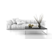 Modern sofa isolated on white background 3D rendering Royalty Free Stock Photos