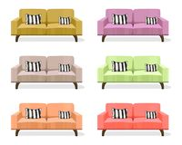 Modern sofa isolated on white background Vector templates. Yellow upholstery. Design Royalty Free Stock Photography